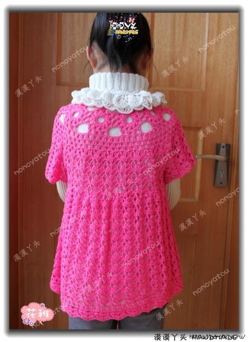 Платье туника для девочки связанное