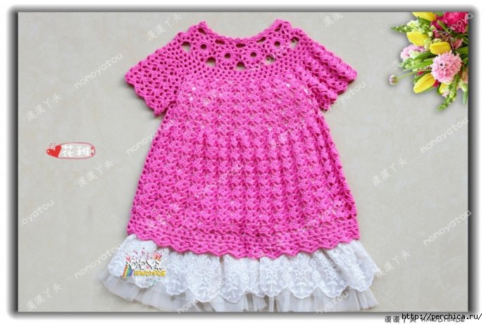 crochet wonderful tunic dress for girls