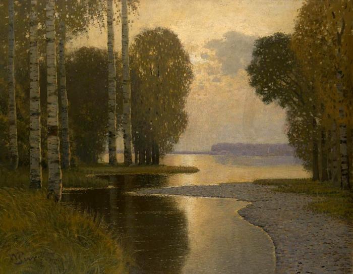 Пейзаж с березами, 1910 (700x543, 382Kb)