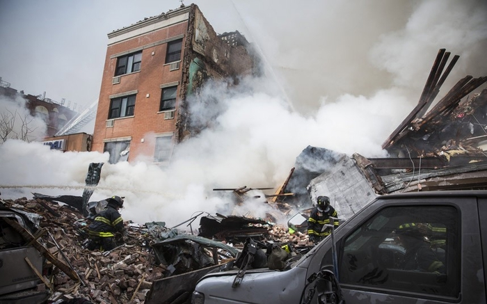 Гарлемские разрушения после взрыва в Нью-Йорке