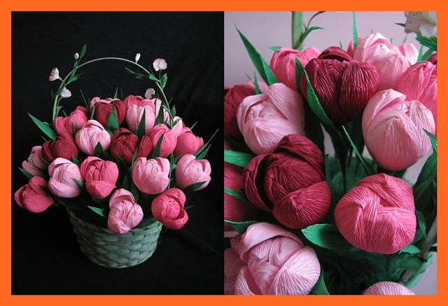 Тюльпаны из бумаги в корзинке своими руками 8