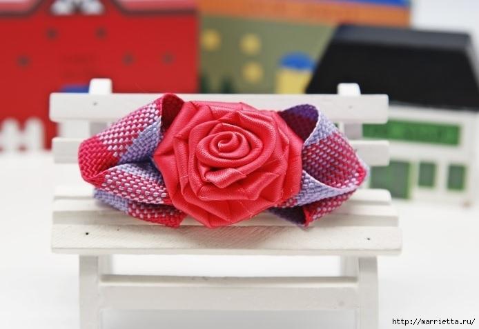 Бантик с розочкой для украшения заколки. Мастер-класс (1) (694x477, 132Kb)