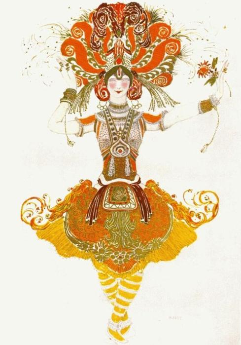 Эскиз костюма Тамары Карсавиной к балету Жар-Птица, 1910 (489x700, 296Kb)