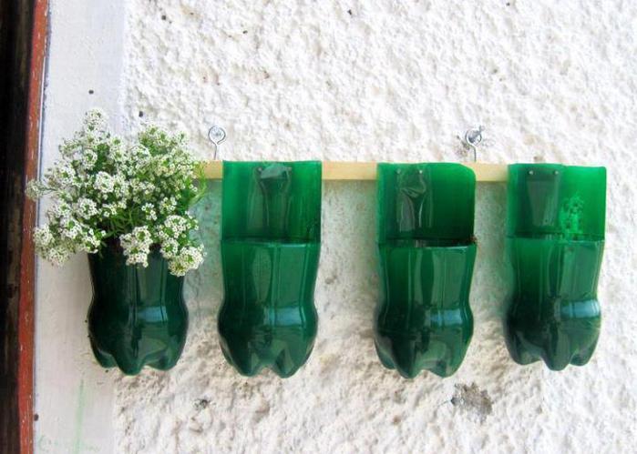 Кашпо из пластиковых бутылок своими руками