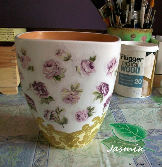 Стильная цветочная ваза из глиняного горшка (2) (618x640, 255Kb)
