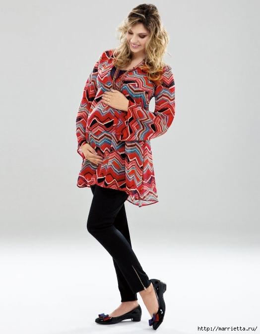 Шитье для беременных. Длинная блуза из шифона (524x673, 132Kb)