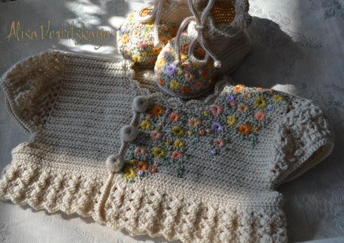 Как украсить вязаную детскую кофту своими руками