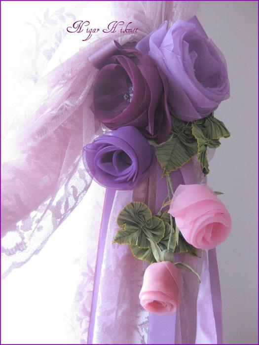 Цветок из лент для штор