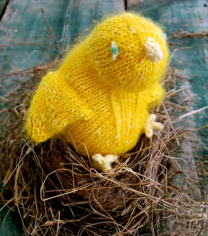 Желтые цыплятки спицами (1) (425x481, 363Kb)