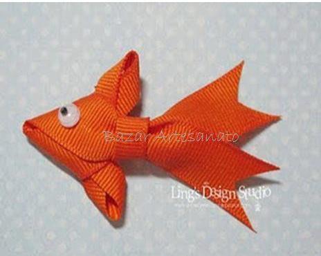 Рыбка золотая из ленточек
