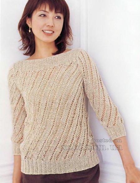 женский пуловер с косыми