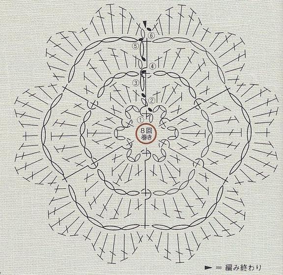 Ирландское кружево. Букетик цветов крючком (1) (576x560, 656Kb)