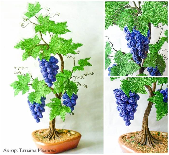 Виноградная лоза из бисера. Мастер-класс (1) (700x643, 521Kb)