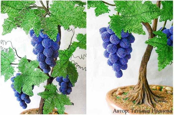 Виноградная лоза из бисера. Мастер-класс (11) (700x462, 489Kb)