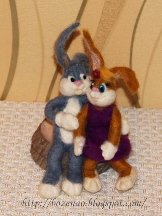 Валяние на проволочном каркасе. Кролики (11) (525x700, 336Kb)