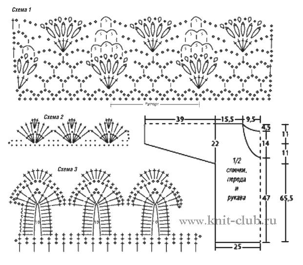 Подробные схемы вязания крючком ажурных кофточек