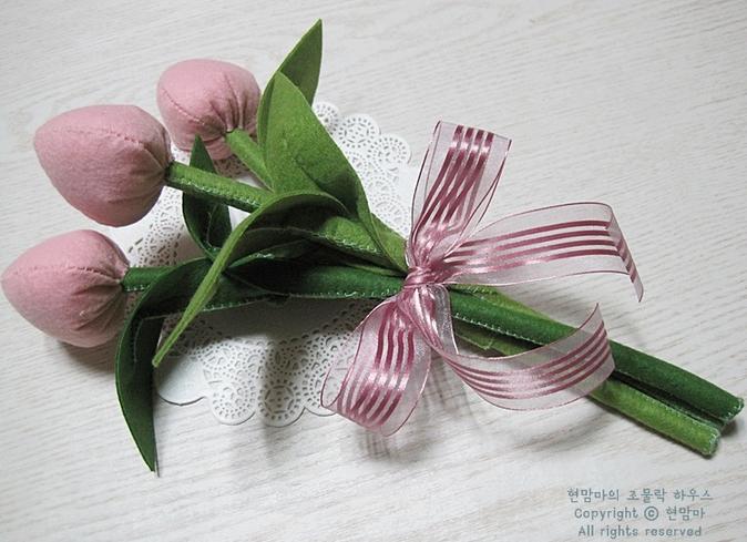 Розовые тюльпаны из фетра. Мастер-класс (15) (674x489, 702Kb)