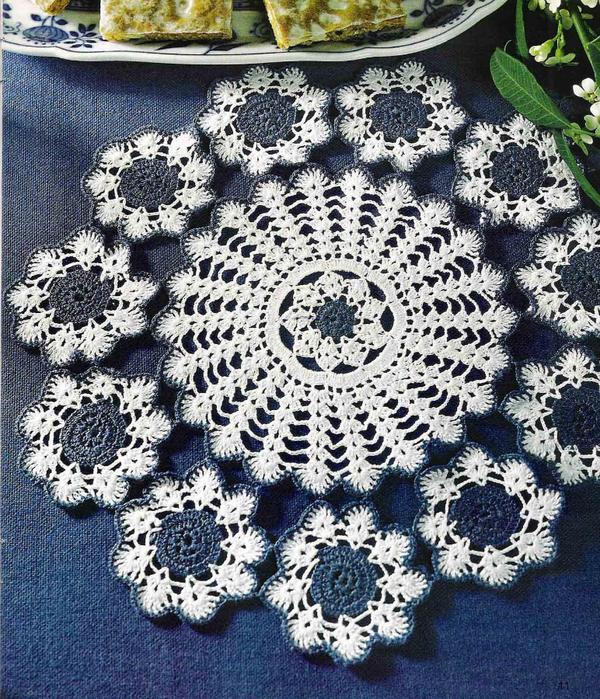 Вяжем крючком круглые салфетки. Схемы (6) (600x700, 589Kb)