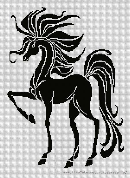 Вышивка крестом, схемы Конь,