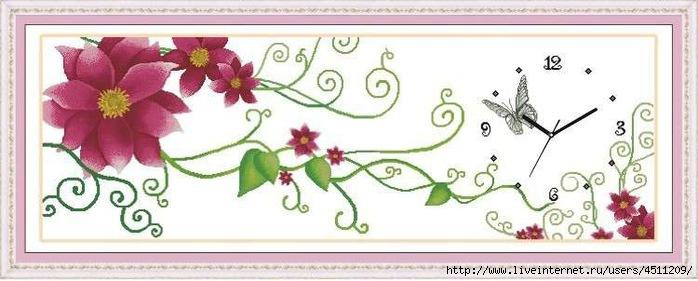 """Триптих-часы """"Цветы"""". Вышивка"""