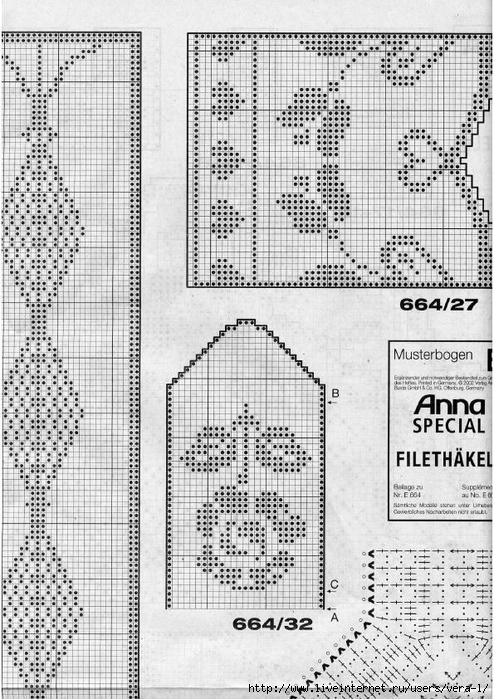 burda special e664 fra filet au crochet liveinternet. Black Bedroom Furniture Sets. Home Design Ideas