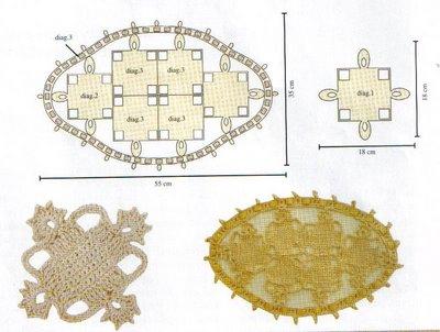 Вязание крючком. Овальные салфетки и подстаканники для стеклянного столика (5) (400x302, 106Kb)