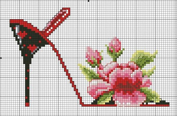 Туфельки цветы вышивка