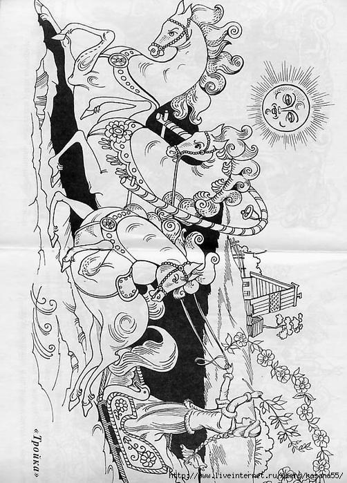 Раскраски палехская роспись