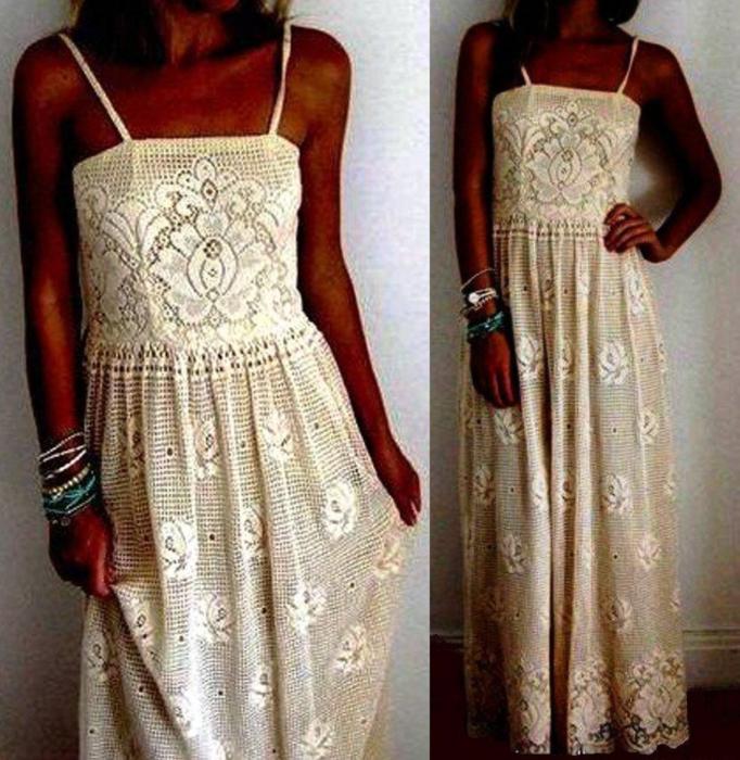 Платья вязанные крючком филейкой