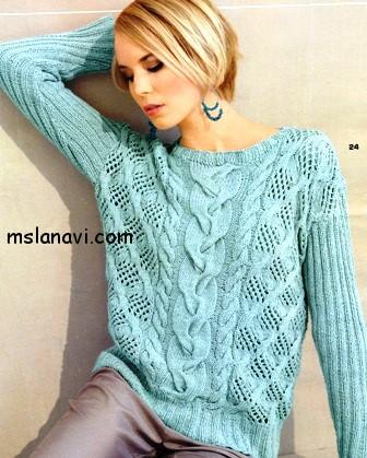ажурный-пуловер-спицами-2 (336x419, 59Kb)