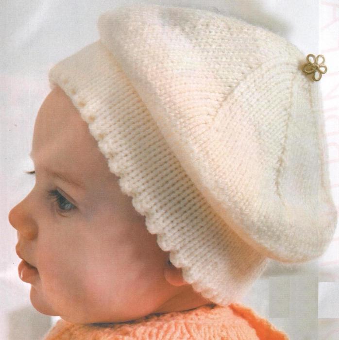 Вязание спицами берет для ребенка
