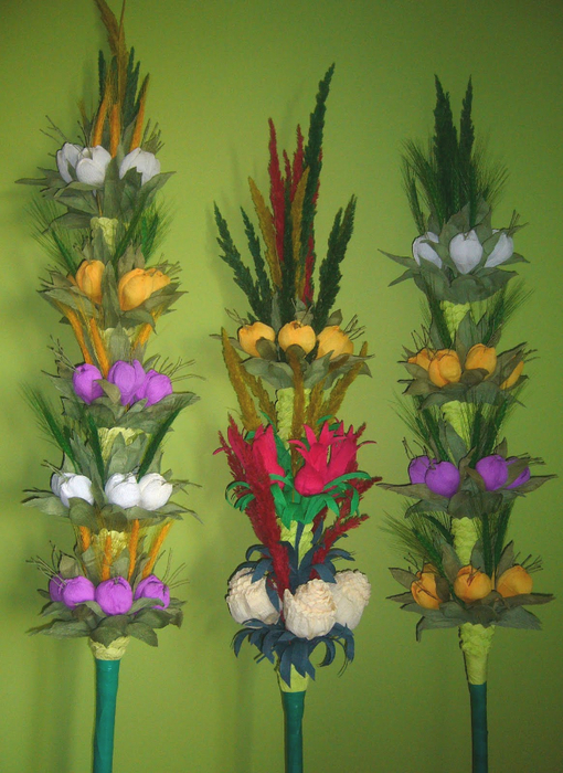 Пасхальная ВЕРБА. Декоративная композиция из веточек вербы и цветов из гофрированной бумаги (33) (510x700, 449Kb)