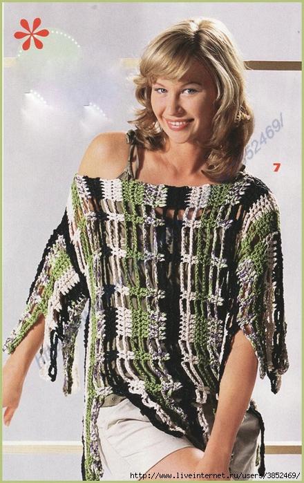 Пуловер  с эффектом бахромы (440x700, 292Kb)