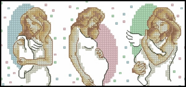 Схема вышивки беременной женщины крестиком 32