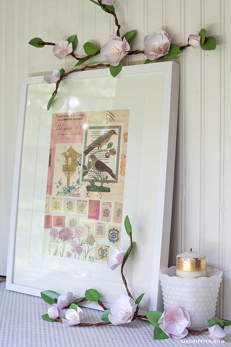 Веточка цветов абрикоса из бумаги. Шаблон (9) (466x700, 371Kb)