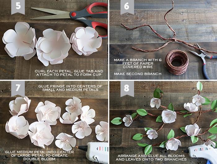 Как сделать ветку цветущей яблони из бумаги