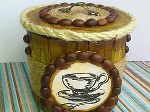 Кофейные мотивы. Сахарница из баночки и картона (1) (300x225, 77Kb)