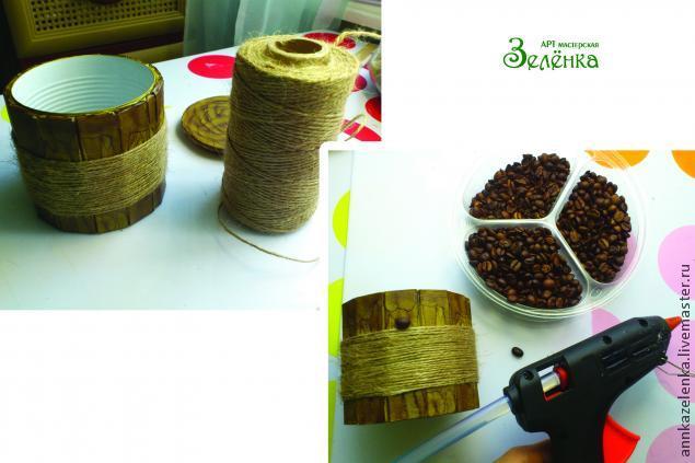 Кофейные мотивы. Сахарница из баночки и картона (13) (635x423, 176Kb)