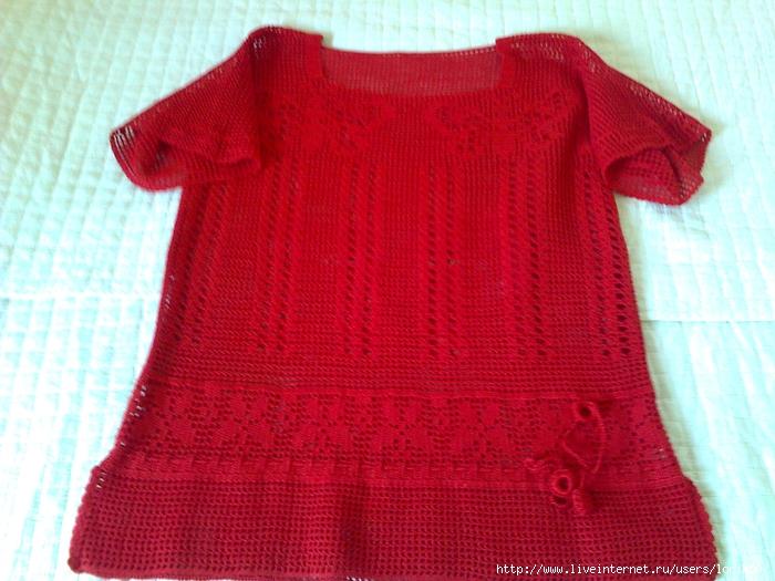 """钩针:""""红色圆角上衣"""" - maomao - 我随心动"""