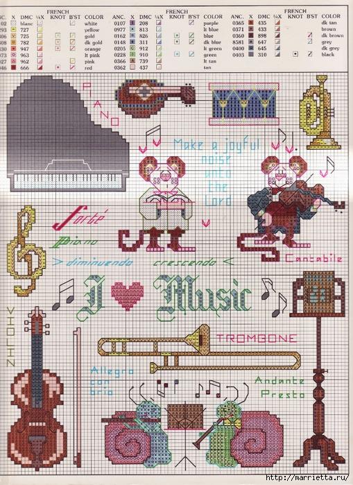 Музыкальная в вышивке схемы 523