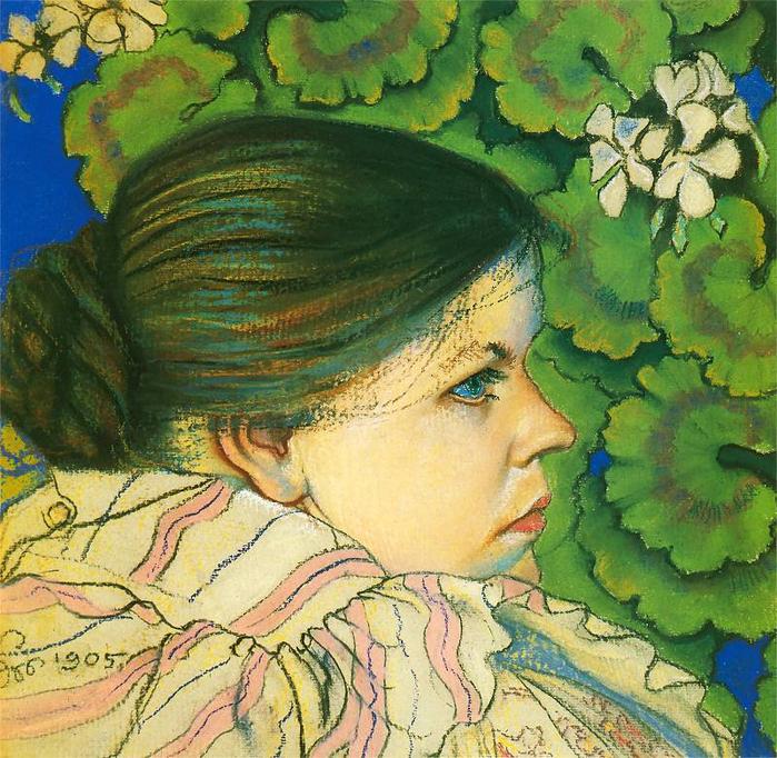 Портрет жены с геранью, 1905 (700x682, 625Kb)