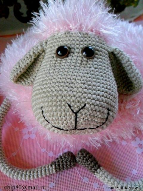 вязаная подушка овечка, вязаная подушка, как связать подушку, вязаная овца овечка, схема вязания подушки овечки