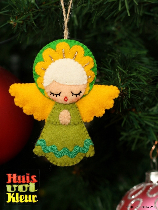 kerst engel boom geel huisvolkleur (525x700, 261Kb)