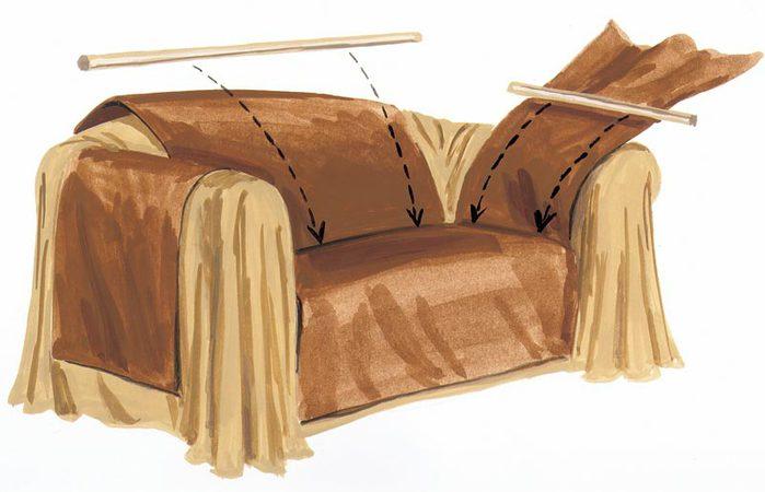 Накидки на диван и кресла своими руками