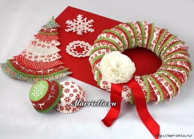 Новогоднее применение бумажных стаканчиков для кексов (11) (620x443, 186Kb)