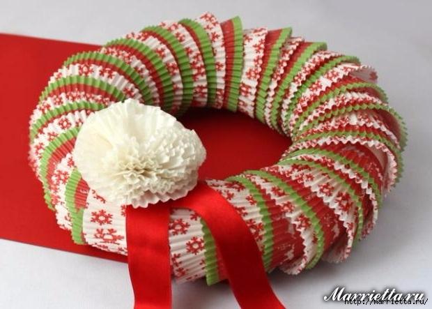 Новогоднее применение бумажных стаканчиков для кексов (24) (620x443, 167Kb)