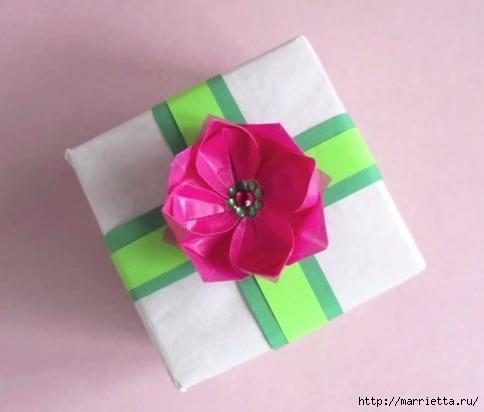 Лотос из бумаги для декорирования подарка (2) (484x412, 73Kb)