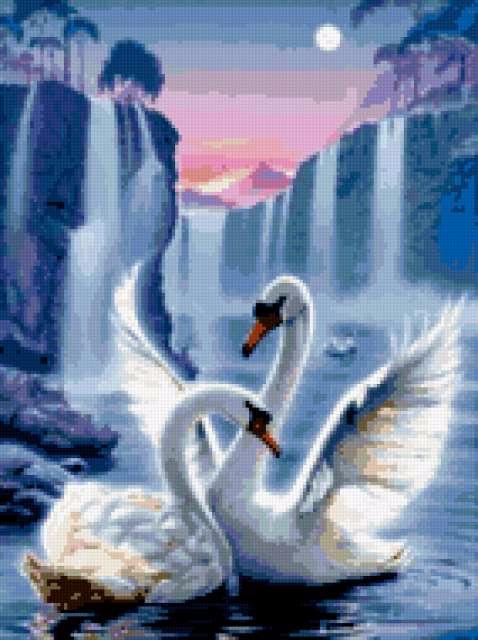 лебеди под водопадом (478x640, 261Kb)