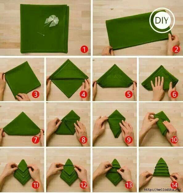 Картинки по запросу GIF Как сложить салфетку в виде елочки