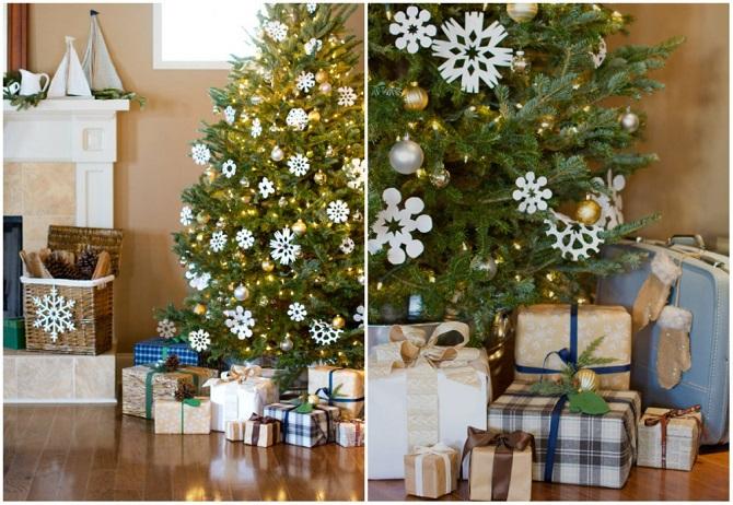 украшение дома бумажными снежинками (670x462, 395Kb)